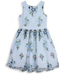 Badgley Mischka Girls Light Blue Embroidered Fit-&-Flare Dress