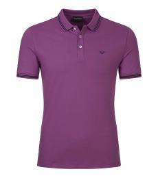 Emporio Armani Dark Purple Slim Fit Logo Polo