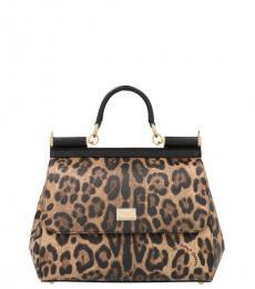 Dolce & Gabbana Leopard Print Sicily Small Satchel