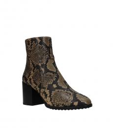 Tod's Brown Snake Print Ankle Boots