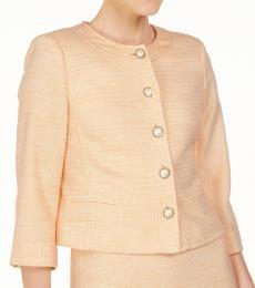 Karl Lagerfeld Peach Embellished-Button Tweed Jacket
