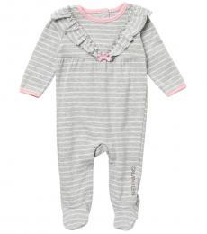 Calvin Klein Baby Girls Grey Ruffle Stripe Coverall