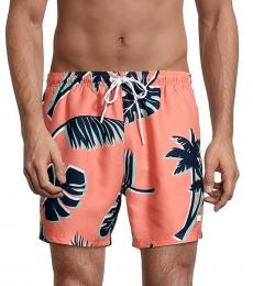 Hugo Boss Peach Piranha Palm-Print Swim Shorts