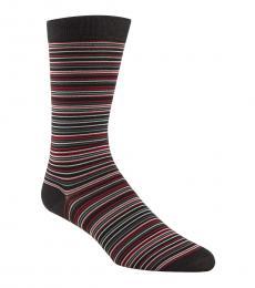 Cole Haan Black Multi Stripe Crew Socks
