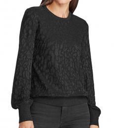 Ralph Lauren Black Glitter Ribbed Trim Sweater