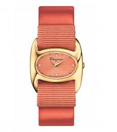 Salvatore Ferragamo Peach Varina Gold-Tone Quartz Watch