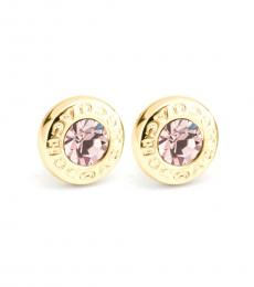 Gold Open Circle Stone Earrings