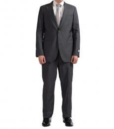 Armani Collezioni Grey Striped Two Button Suit