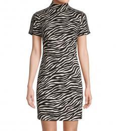 BlackWhite Printed Mini Sheath Dress
