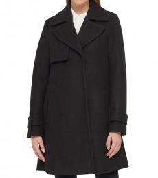 Karl Lagerfeld Black Tailored A-Line Coat