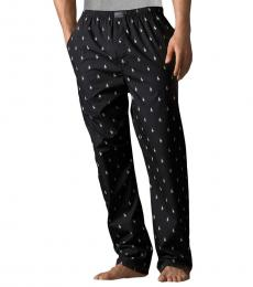 Ralph Lauren Black Printed Pony Pajama Pants