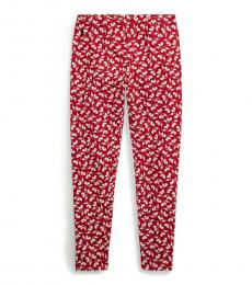 Ralph Lauren Girls Red Floral Stretch Jersey Leggings