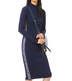 Michael Kors Navy Blue Logo Tape Ribbed Knit Zip Dress