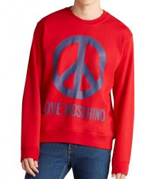 Love Moschino Red Peace Logo Sweatshirt