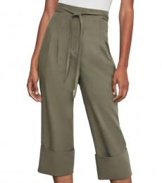 BCBGMaxazria Dusty Olive Tie-Front Cuffed Crop Pants