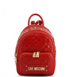 Love Moschino Red Top Logo Small Backpack