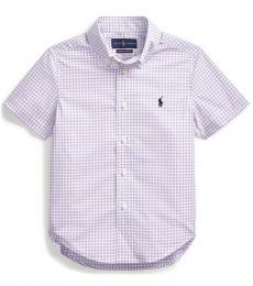 Ralph Lauren Little Boys English Lavender Gingham Shirt
