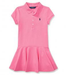 Little Girls Pink Short-Sleeve Polo Dress