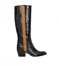 Black Croc Print Leather Boots