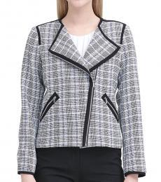 Calvin Klein Multi color Asymmetric Zip Plaid Jacket