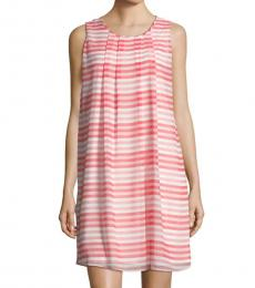Coral Sleeveless Striped Shift Dress