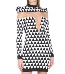 Balmain BlackWhite Geometric Jaquard Dress