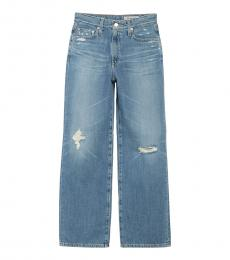 AG Adriano Goldschmied Light Blue Tomas Wide Leg Distressed Jeans