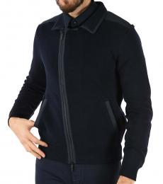 Dark Blue Zip-Up Knit Jacket