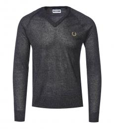 Fred Perry Black V-Neck Sheer Sweater