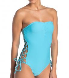 Aqua Lace-Up One-Piece Swimsuit