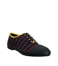 Prada Black Pink Striped Sneakers