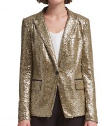 DKNY Golden Sequined One-Button Blazer