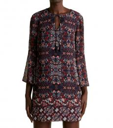Vince Camuto Navy Blue Floral Printed Shift Dress