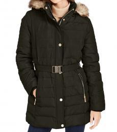 Michael Kors Olive Petite Hooded Down Puffer Coat
