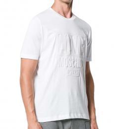 Love Moschino White Embossed Logo T-Shirt