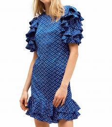Kate Spade Amulet Blue Geo Dot Satin Ruffle Dress