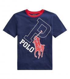 Ralph Lauren Boys Newport Navy Big Pony Graphic T-shirt