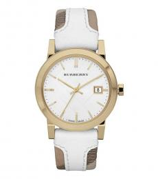 Burberry White Brown Gold Logo Watch