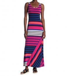 Multi Color Mixed Stripe Knit Maxi Dress