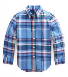 Ralph Lauren Little Boys Blue Red Multi Plaid Shirt