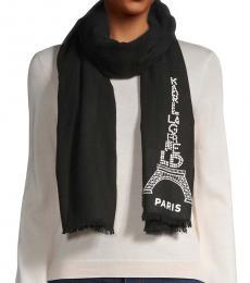 Karl Lagerfeld Black Eiffel Tower Graphic Scarf