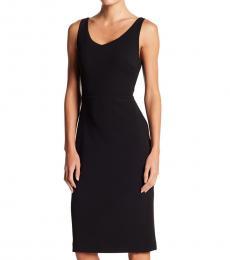 Black Crepe Scoop Neck Midi Dress