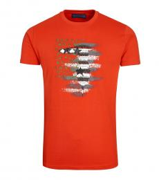 Orange Union Jack Print T-Shirt