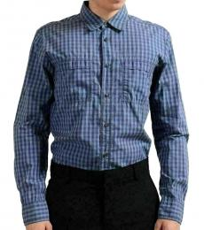 Blue Pocket Plaided Casual Shirt