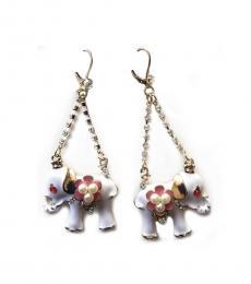 White Elephant Dangle Earrings