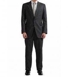 Armani Collezioni Grey Striped Regular Fit Wool Suit
