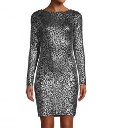 Michael Kors Black Metallic-Embellished Mini Dress