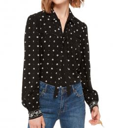 Kate Spade Black Bandana Tie Neck Top