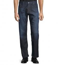AG Adriano Goldschmied Dark Blue Straight-Leg Jeans