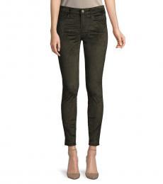 7 For All Mankind Dark Green Velvet Ankle Skinny Jeans
